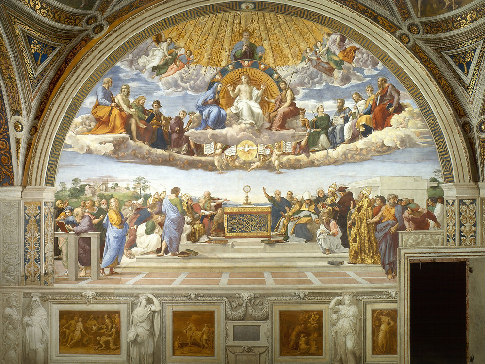 Disputation of the Holy Sacrament by Raphael. Gibraltar Catholic Youth.