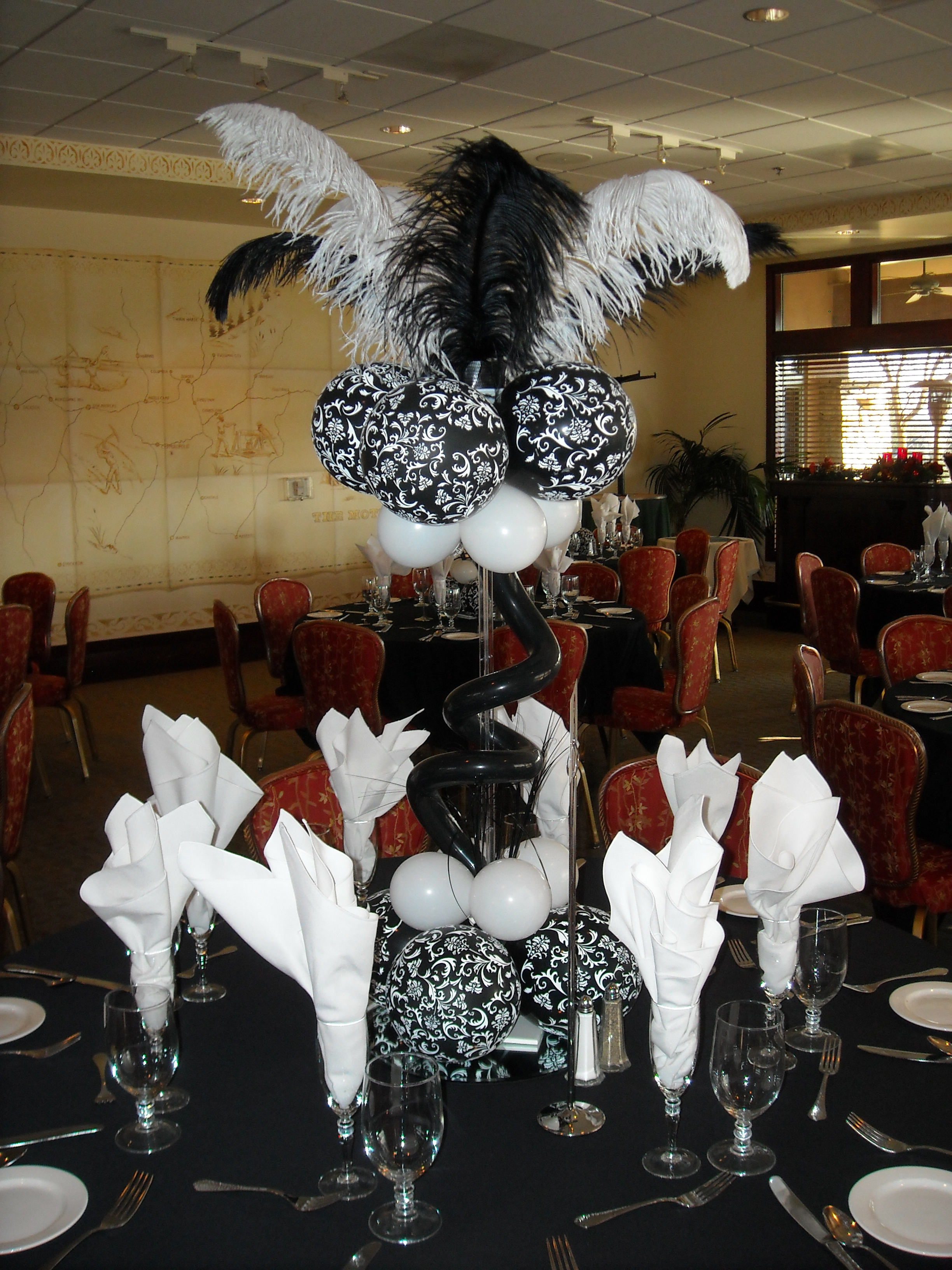 Black & White Feather Centerpiece