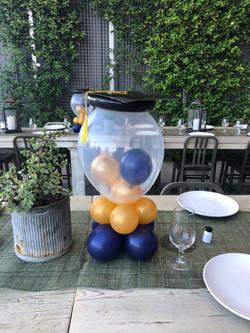 Grad hat bubble centerpiece