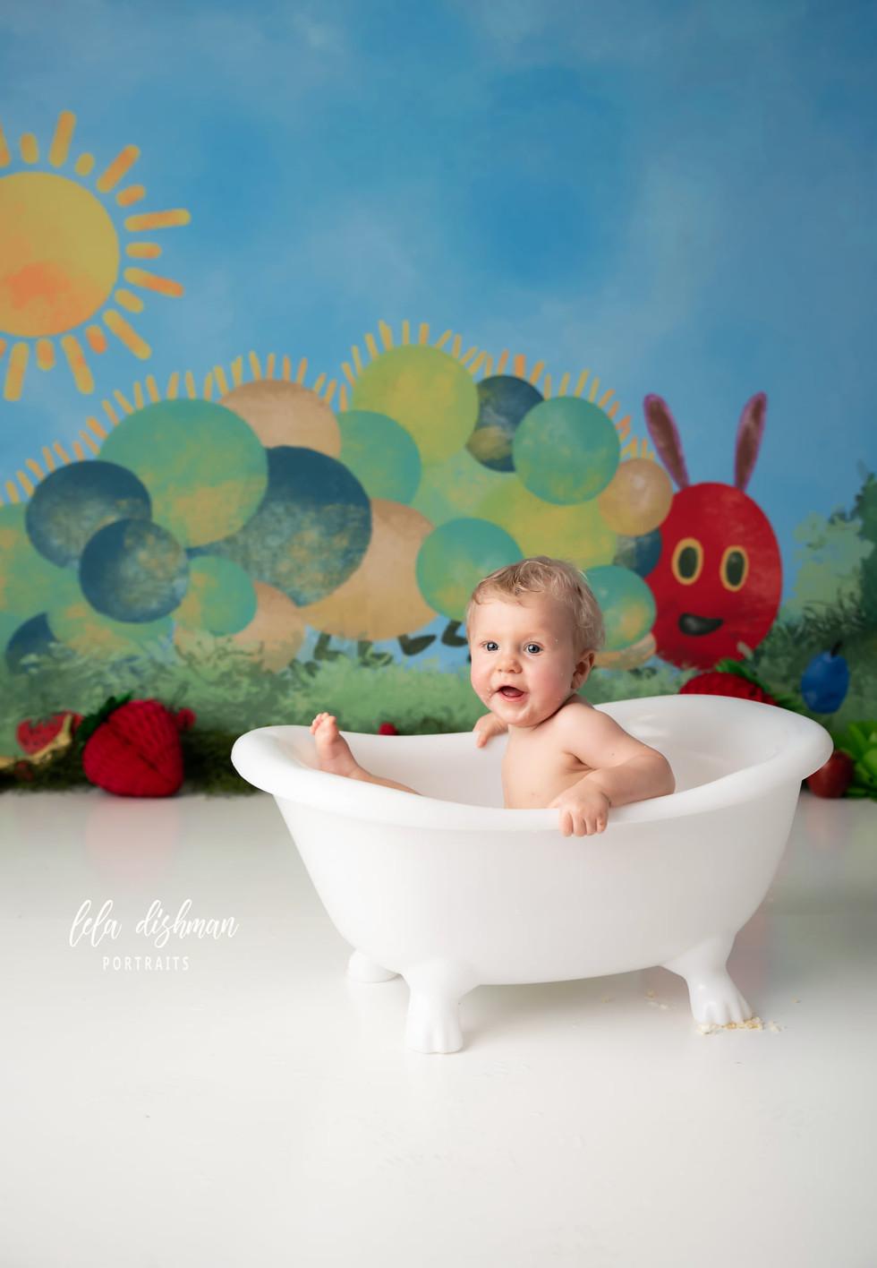 Wyatt is one ~ First Birthday Cake Smash Photographer- Lela Dishman Portraits