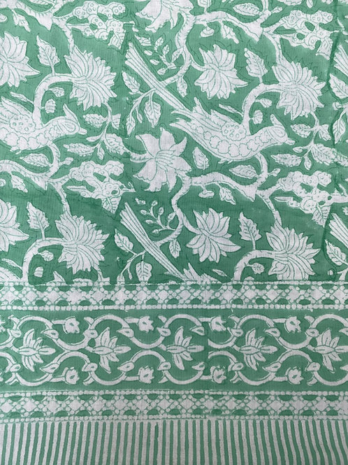 100% Cotton hand blocked tablecloth Jade green and white bird print