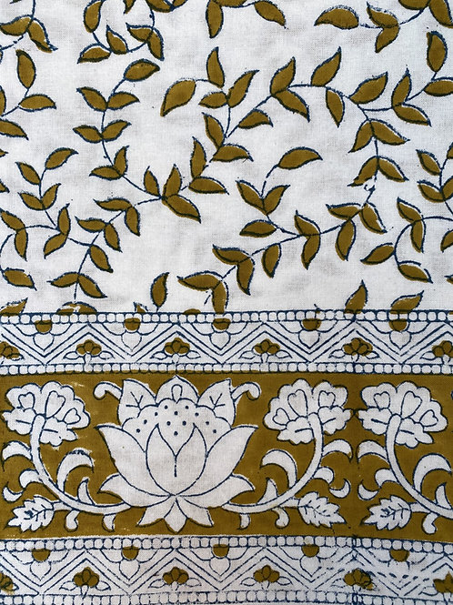 100% Cotton hand blocked tablecloth in ochre yellow, blue and white
