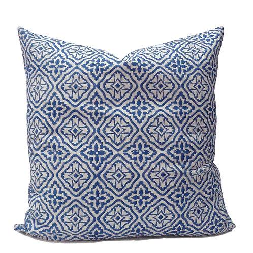 100% Cotton Hand blocked cushion blue cross 50cm x 50cm
