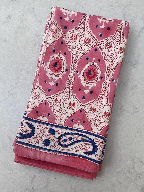 Set of 4 100% cotton hand blocked napkins pink and cornflower blue print
