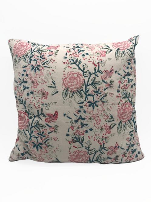 100% Cotton Hand blocked cushion Vintage floral 50cm x 50cm