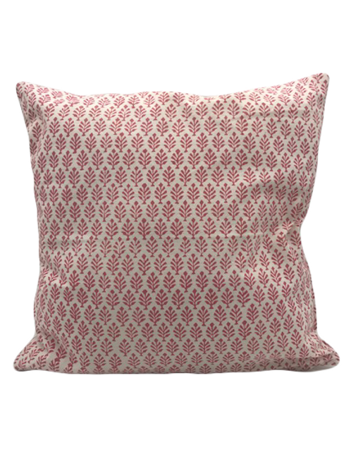 100% Cotton Hand blocked cushion  Deep pink leaf 40cm x 40cm