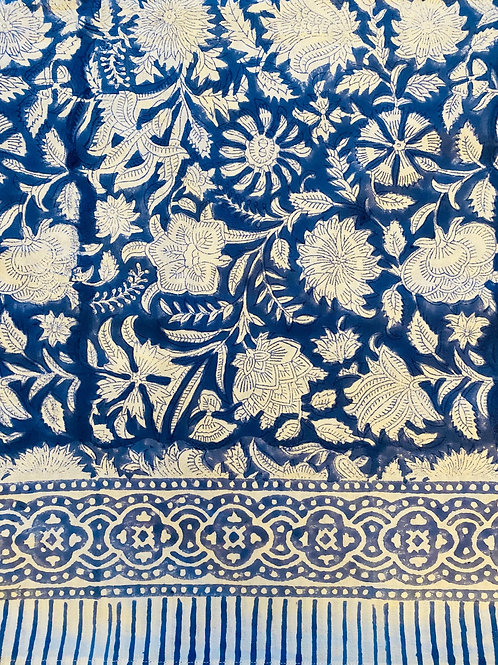 100% cotton hand blocked tablecloth cornflower blue with white flower