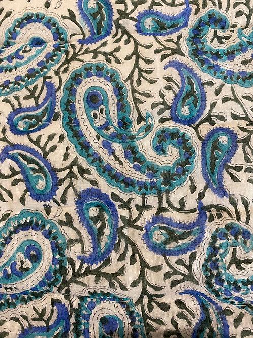 Reversible 100% Cotton quilt Large  in blue paisley design