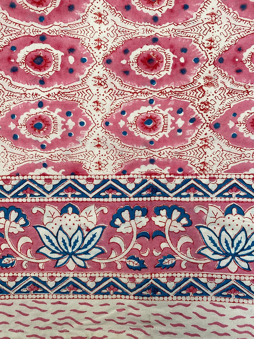 100% cotton hand blocked tablecloth in pink and cornflower blue print