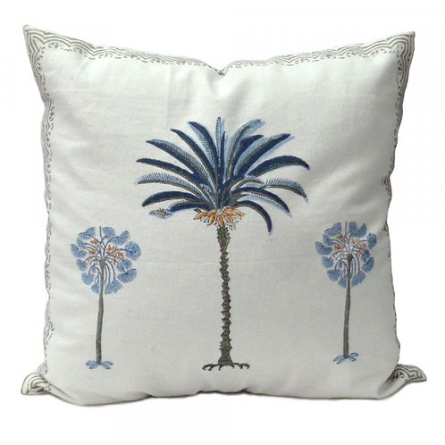 100% Cotton Hand blocked cushion blue palm trees 40cm x 40cm