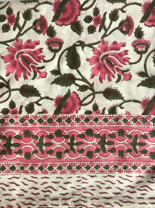 100% cotton hand blocked tablecloth large pink flowers