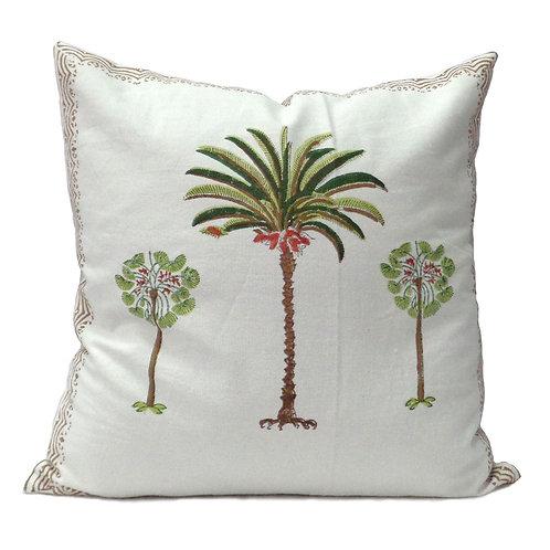 100% Cotton Hand blocked cushion Green palm 40cm x 40cm