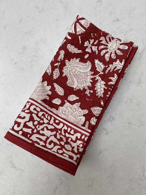 Set of 4 100% Cotton hand blocked napkins in vibrant red and white flowers