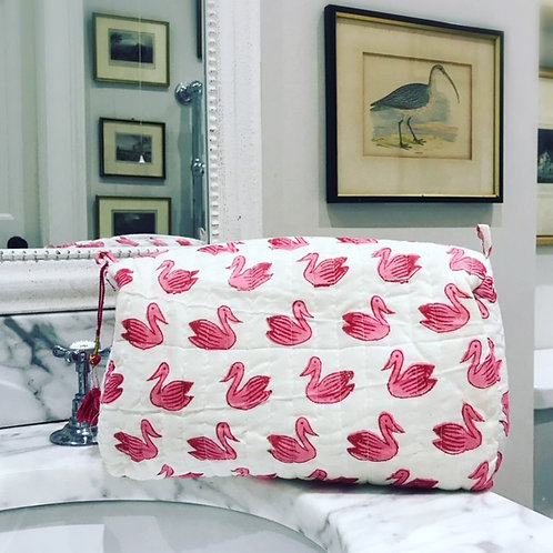 100 % cotton wash bag, toiletries, make up bag, with waterproof lining.
