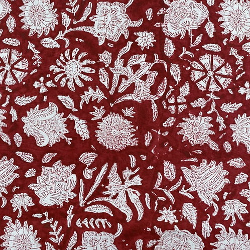 100% Cotton hand blocked tablecloth in vibrant red and white flowers