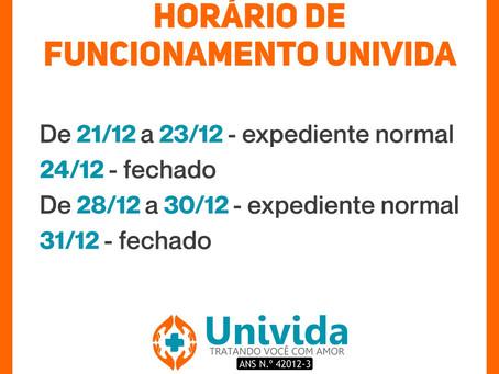 HORÁRIO DE FUNCIONAMENTO - FINAL DE ANO