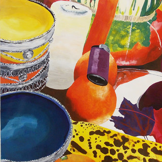 Moroccan bowl and fruit still life