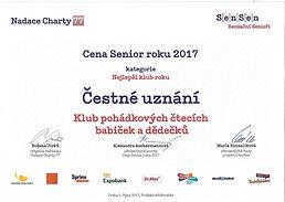 Čestné uznání SenSen - Nejlepší klub rok