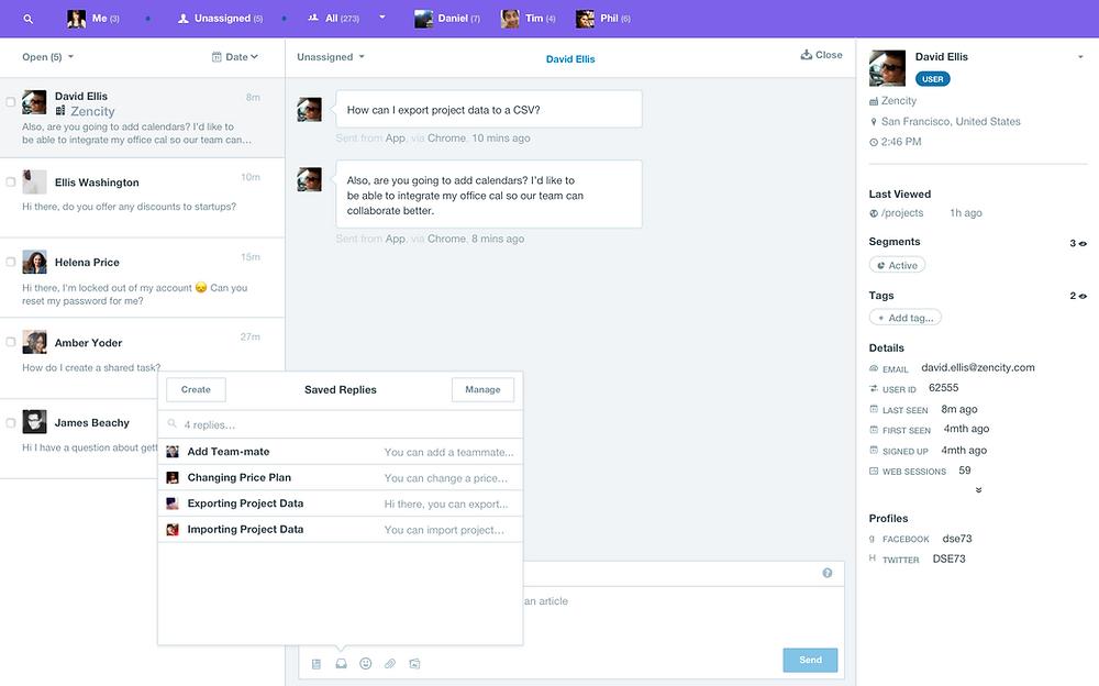 dashboard Intercom messaging app
