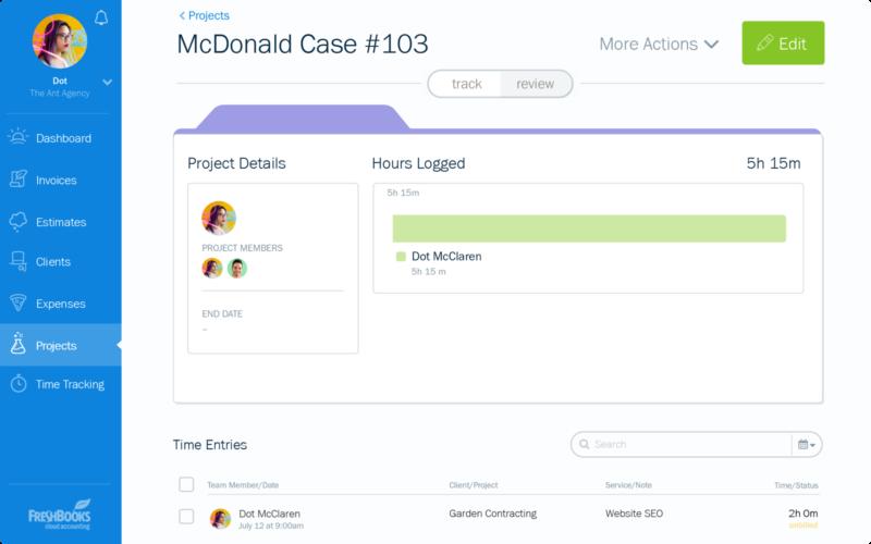 screenshot of Freshbooks project dashboard