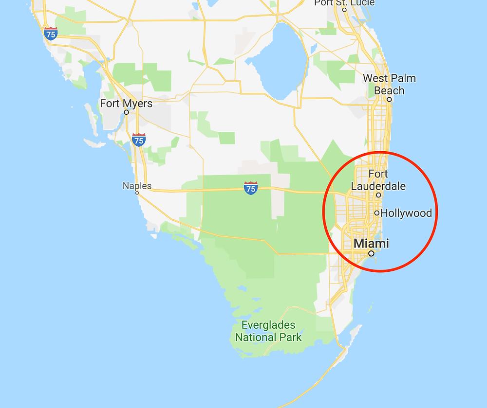 Map of miami aventura hallandale