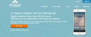 ipostal 1 homepage screenshot of their digital mailbox services