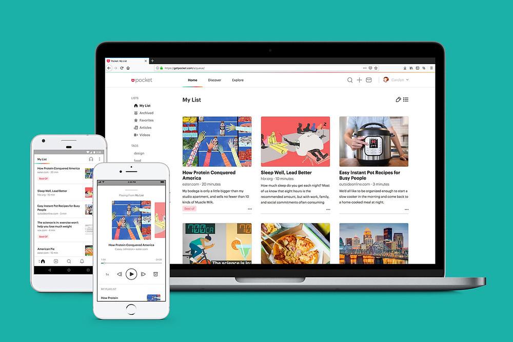 Get pocket app dashboard mobile and desktop