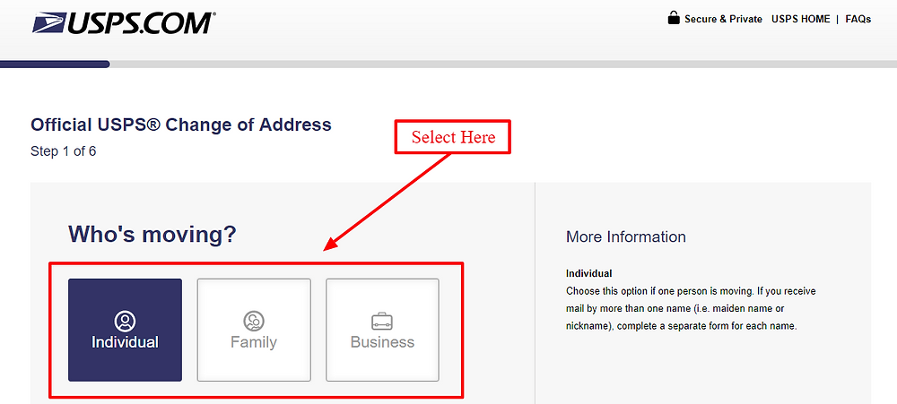 official USPS change of address form for individual, family or business