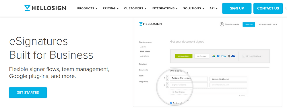 HelloSign dashboard