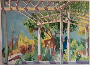ציירת בשמורת הסורק. 1989 לערך. שמן על בד