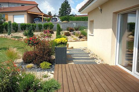 Terrasse bois - Dalle pas japonais rectangulaire
