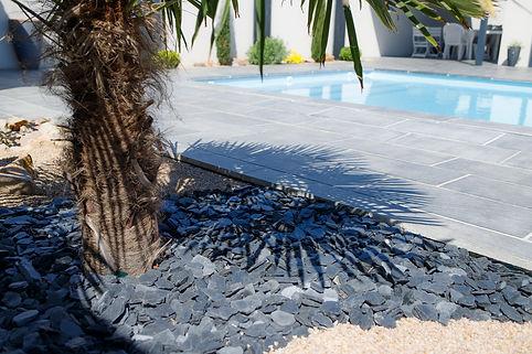 Pailli d'ardoise autour d'un palmier