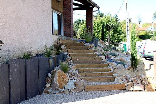 Escalier réalisé par paysagiste david Bergougnoux