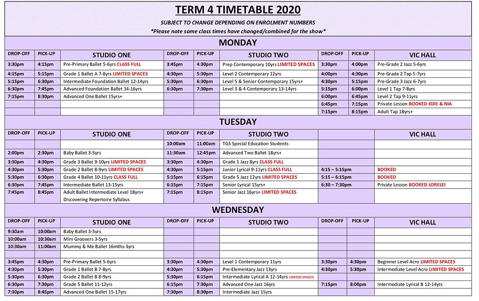 Term 4 2020 Timetable