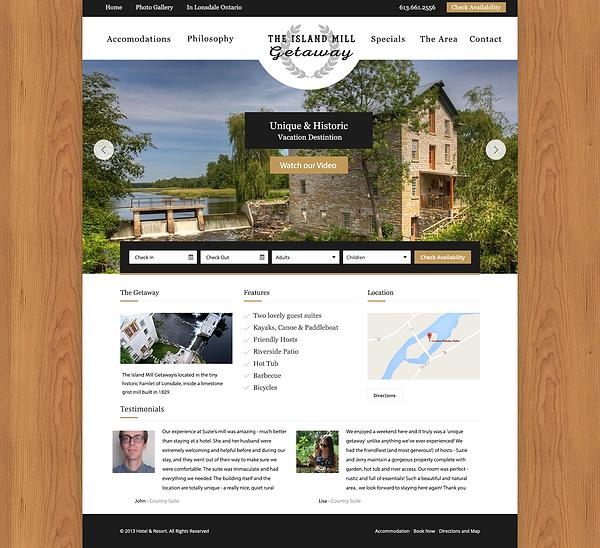 The Island Mill Getaway Website Mockup