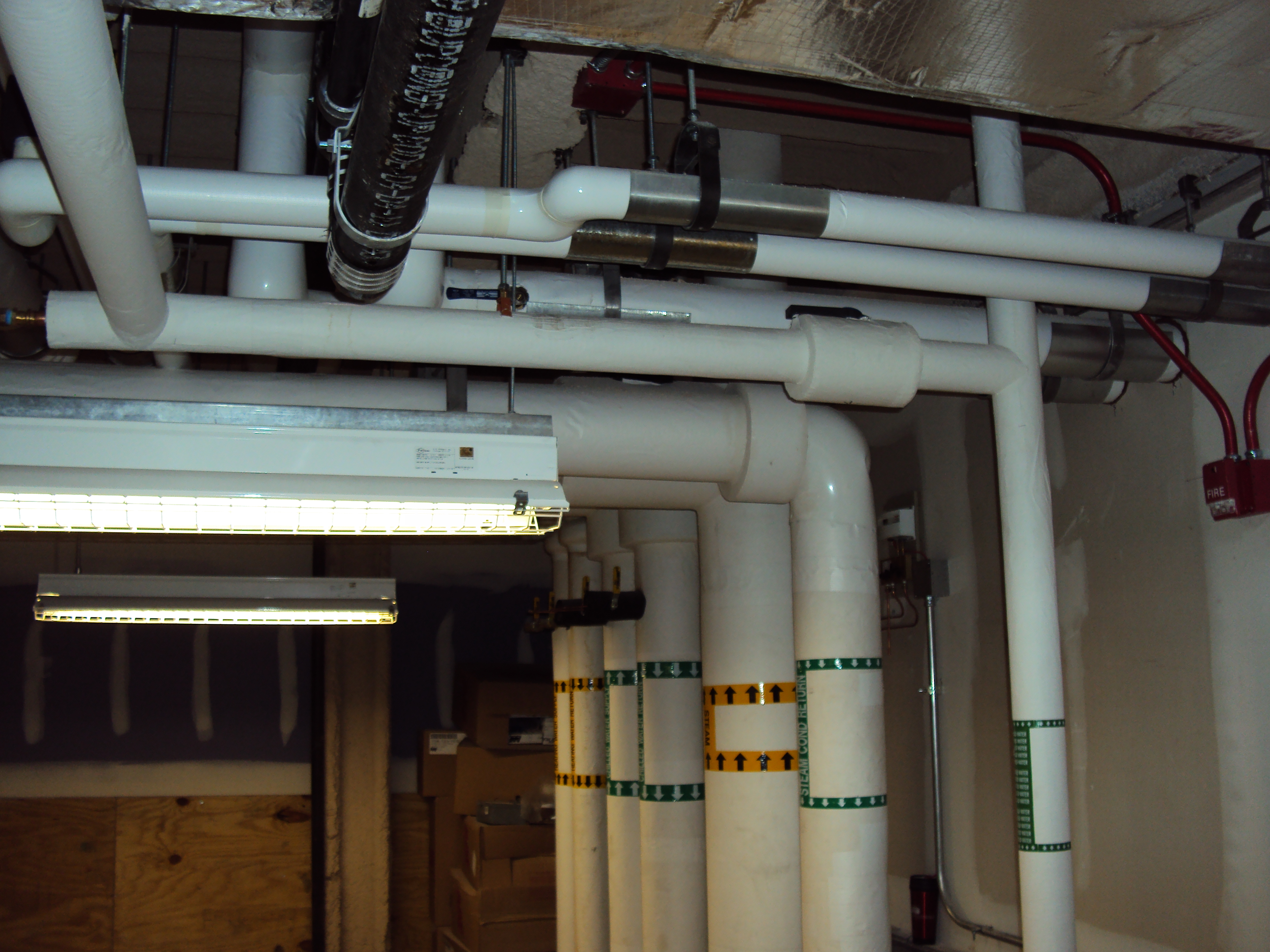 riser piping in mech rm