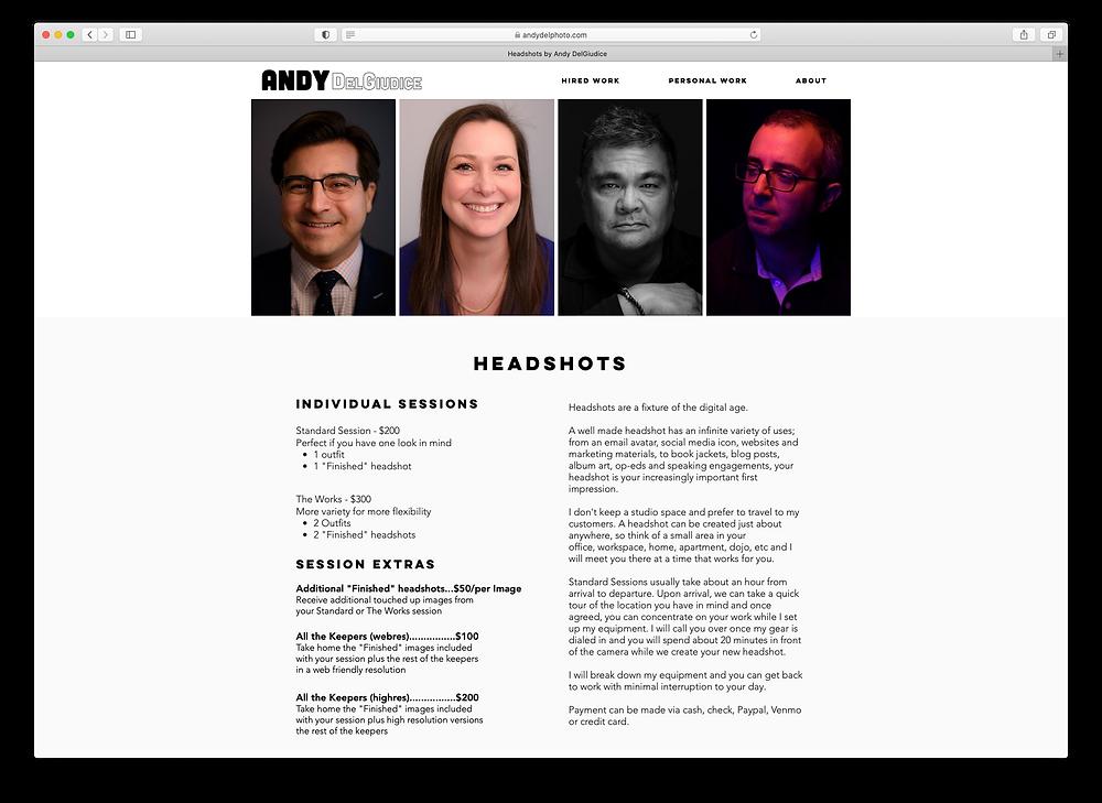 A screenshot of Andy DelGiudice's Headshot page.