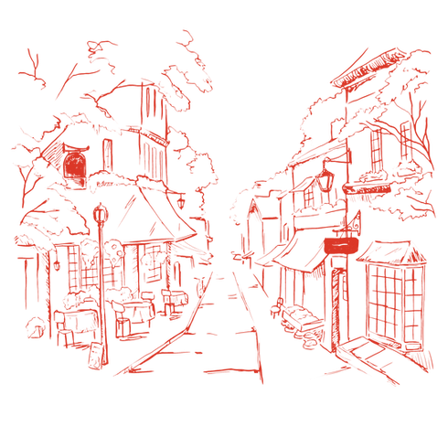 Illustrated neighbouhood Straße