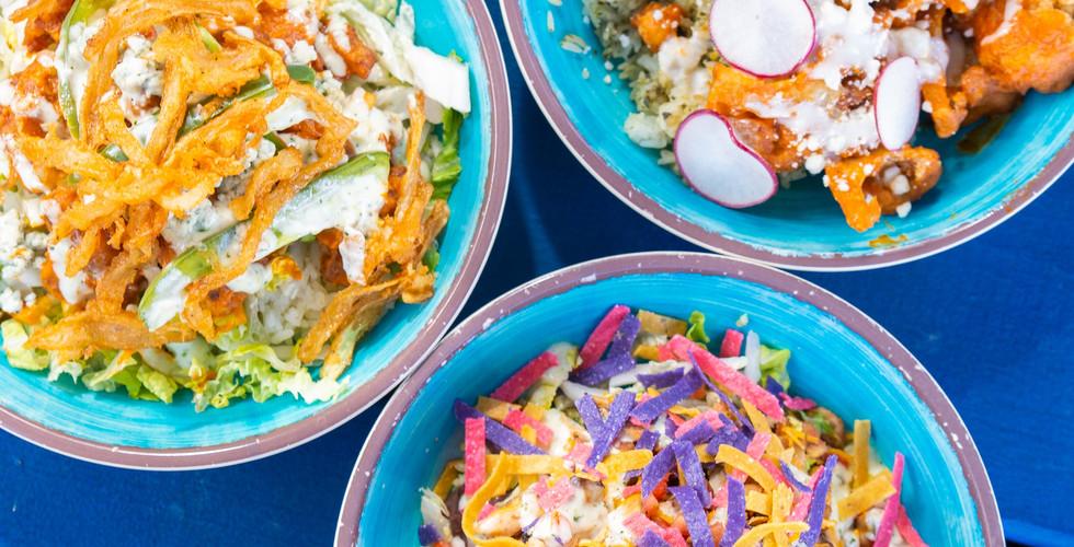 3 bowls on blue background