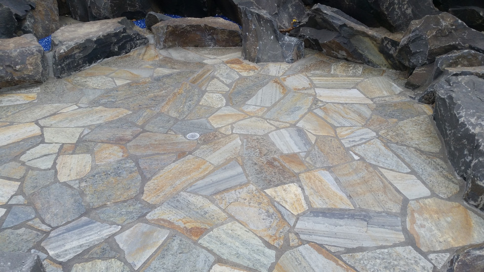 Gold Rush Patio Installed and set in Mortar