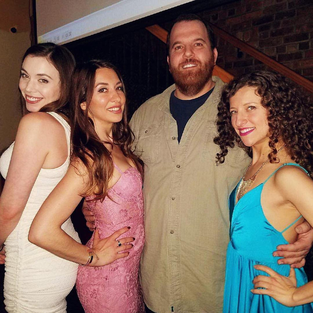 Kim with co-stars Megan O'Donnell, Larry Rosen and Bethany Nicole Taylor at the Death at a Barbecue film premiere.
