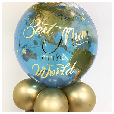 Globe balloon with Crown Topper and Vinyl Print
