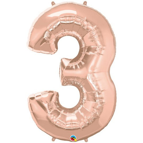 """Rose Gold Number Balloon (34"""")"""