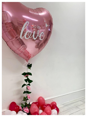 Pink 36 inch Foil Heart with 'So In Love'