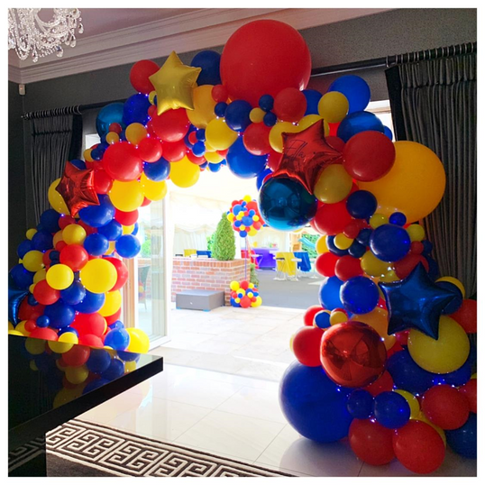 Red, Blue & Yellow Superhero Inspired Arch