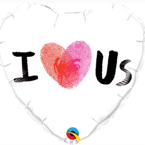 "Valentine's I Love Us Thumbprint 18"" Heart Foil Balloon"