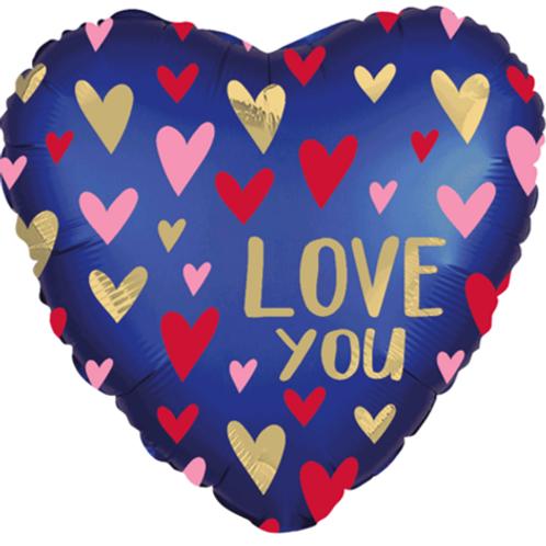 """Satin Luxe Navy Love You 18"""" Heart Foil Balloon"""