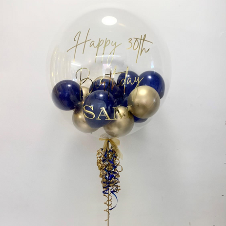 Chrome Gold & Navy Bubble Balloon