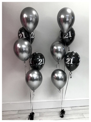 Chrome Silver & Black 21st Latex Balloon