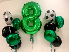 Green Number 8 with Football Themed Foil Bouquets